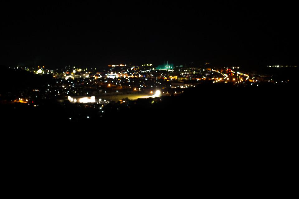 水俣市街地の夜景 アージェ ひげのみせ 熊本県水俣市