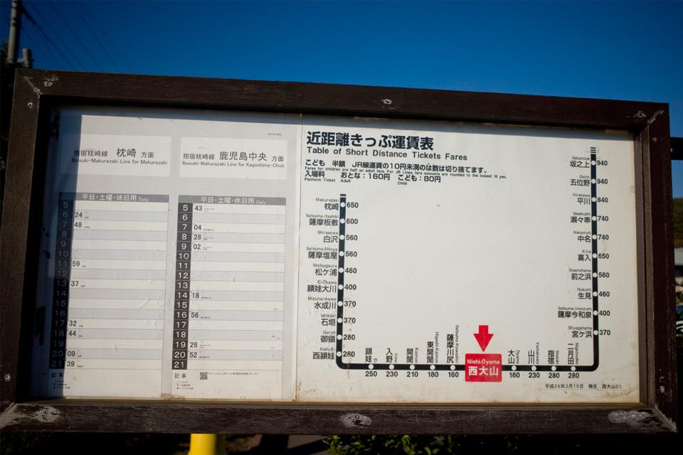 時刻と料金の案内看板 JR日本最南端の駅「西大山駅」