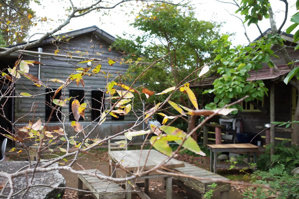 美山のカフェ「喫茶 風の丘」野外テーブル席 鹿児島県日置市