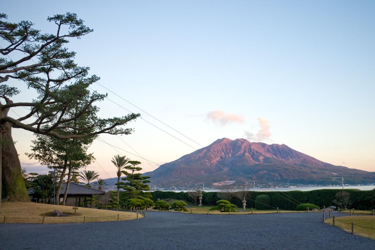 桜島と庭園「仙厳園」鹿児島市吉野町