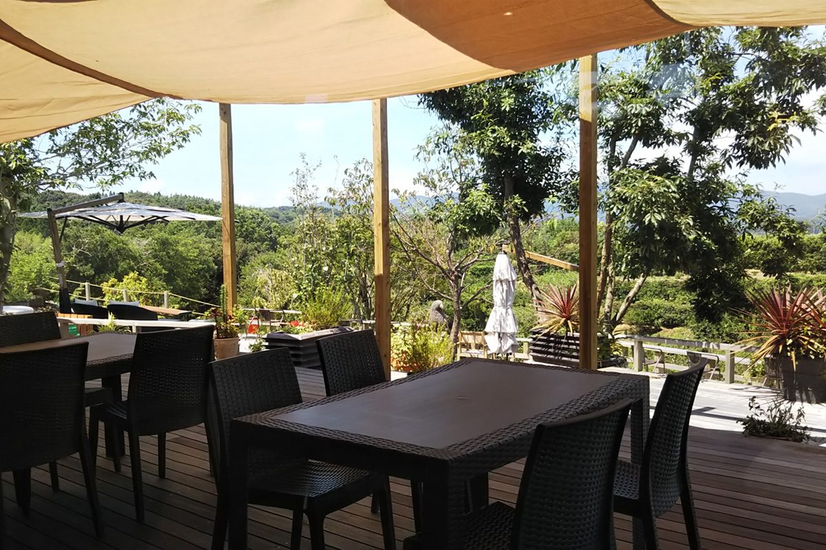 鹿児島県阿久根市の「テラスカフェ空」人気のテラス席